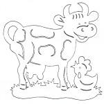 omalovanky vymalovanky  : kraviaka 150x150 Vystřihovánky zvířátek