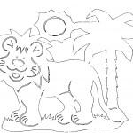 omalovanky vymalovanky  : lev 150x150 Vystřihovánky zvířátek