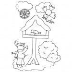 zima omalovanky vanoce omalovanky  : zima vanoce krmitko 150x150 Zima a Vánoce
