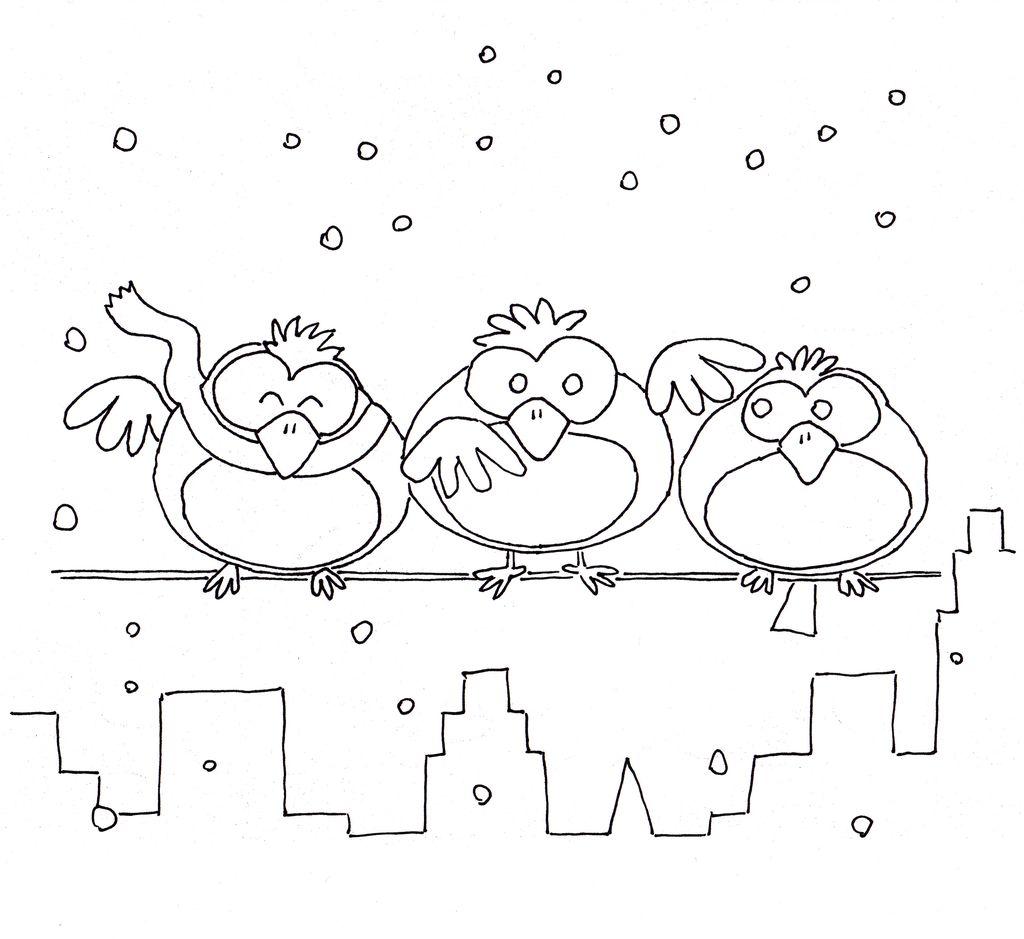 Ptacci V Zime Budky Krmitka Predskolaci Omalovanky Pracovni