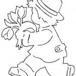 jarni vystrihovanky kluk s tulipany
