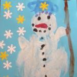 zimni inspirace snih led mraz  : krupicovy obrazek snehulak 150x150 Krupicový obrázek