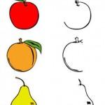 smyslove vnimani grafomotoricke  : dokresli a vybarvi ovoce 150x150 Grafomotorické pracovní listy
